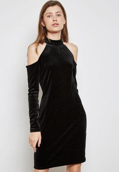 Velvet Cold Shoulder Dress