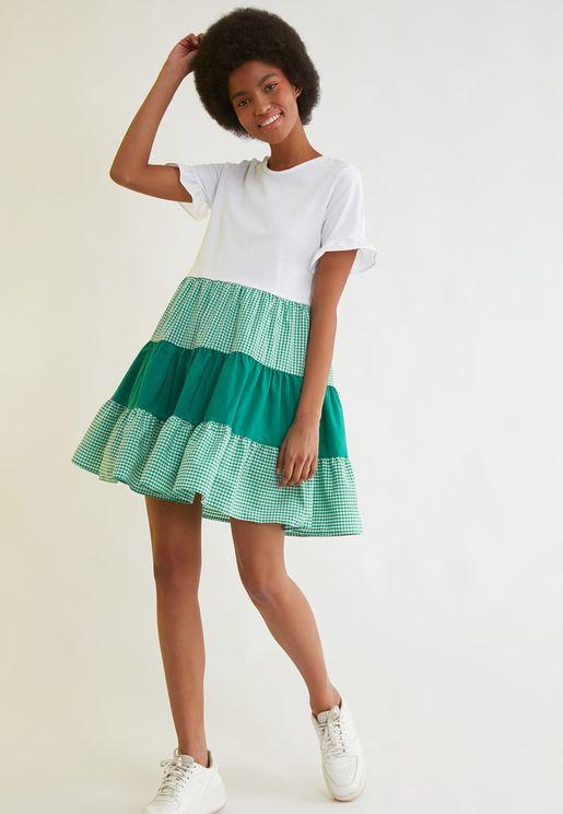 Colorblock Crew Neck Dress