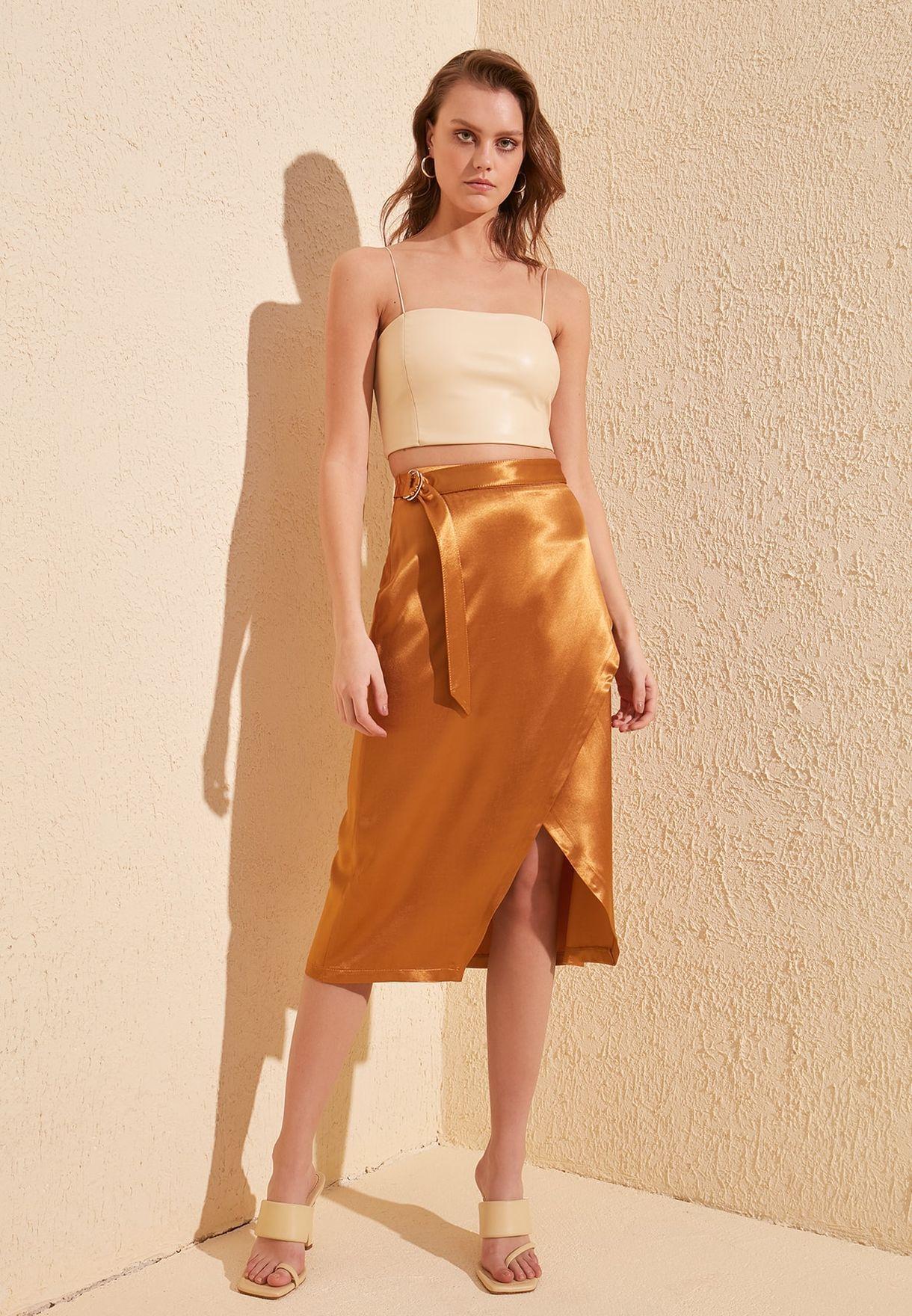 Side Slit High Waist Skirt