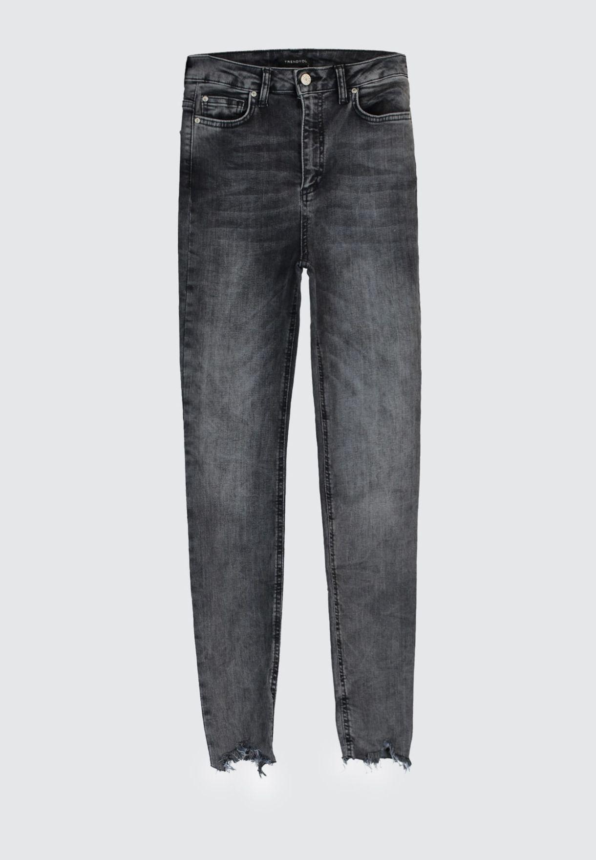 Mid Wash Raw Hem Jeans