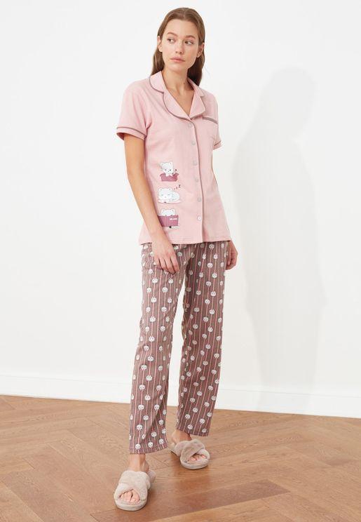 Graphic Knitted Pyjama Set