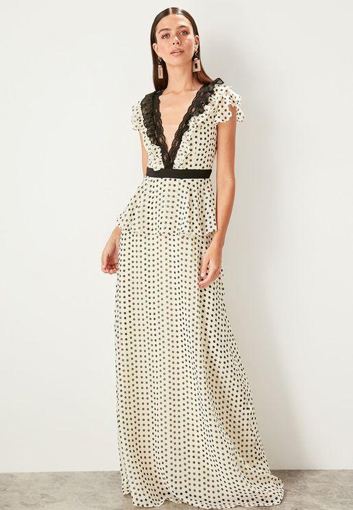 Polka Dot Layered Ruffle Hem Dress