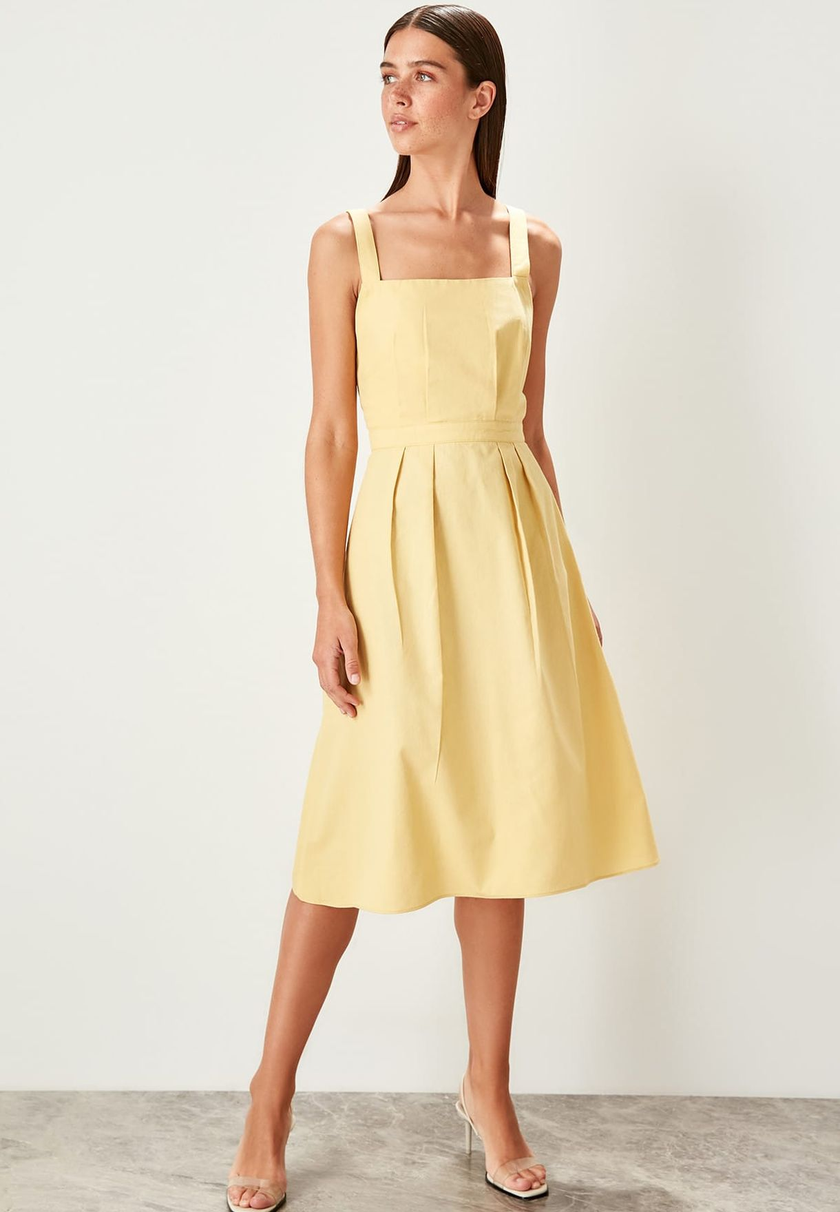 Square Neck Pleated Detail Dress