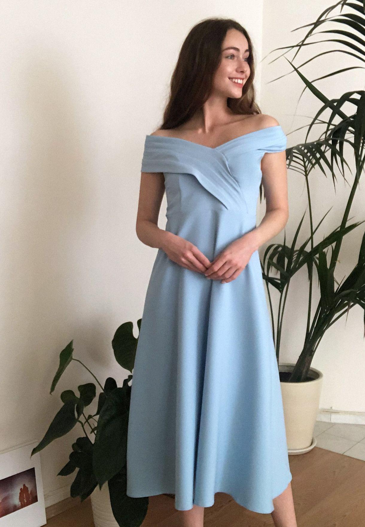 Pleated Bardot Dress