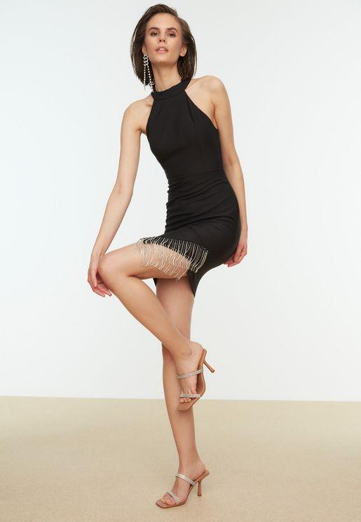 Halter Neck Fringe Detail Dress