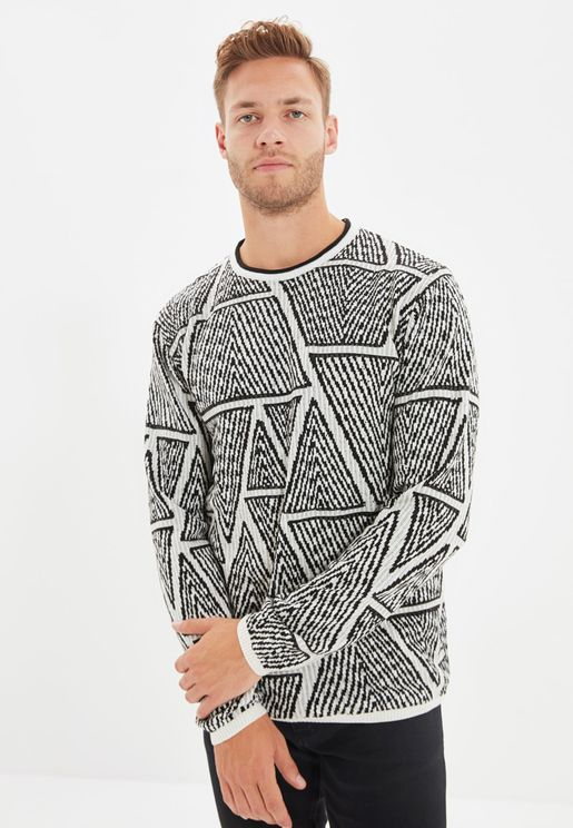 Geo Detail Knitted Sweater