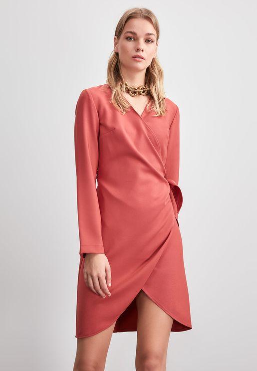Seam Detail Wrap Dress