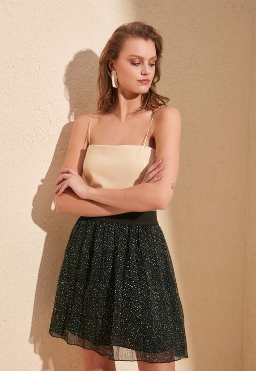Shimmer Pleated Mini Skirt