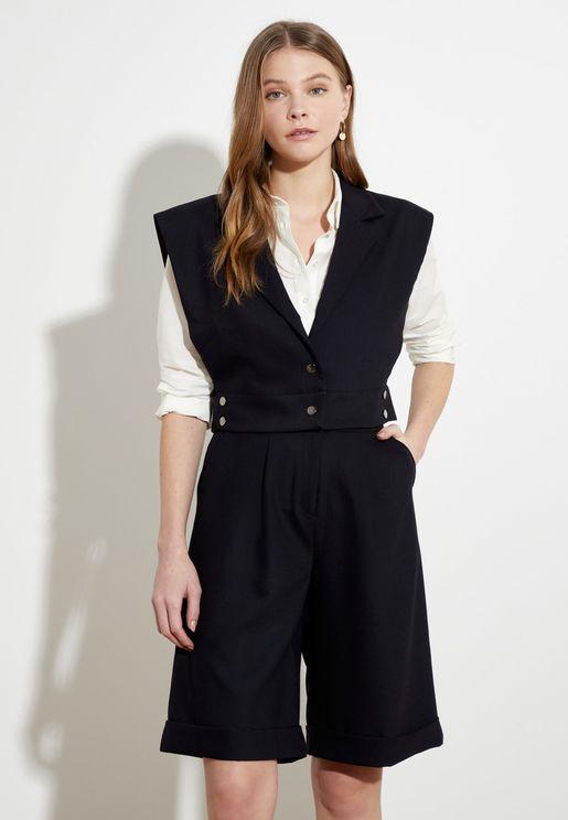 Cap Sleeve Cropped Waistcoat