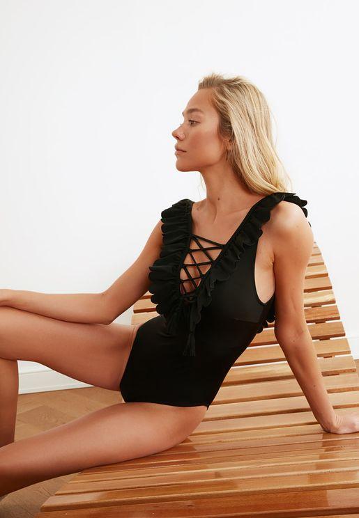 Black Tie Detail Swimwear