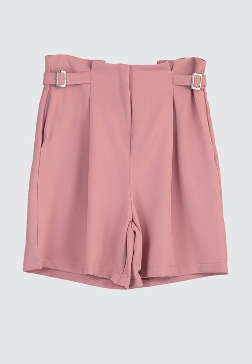 Pleat Detail High Waist Shorts
