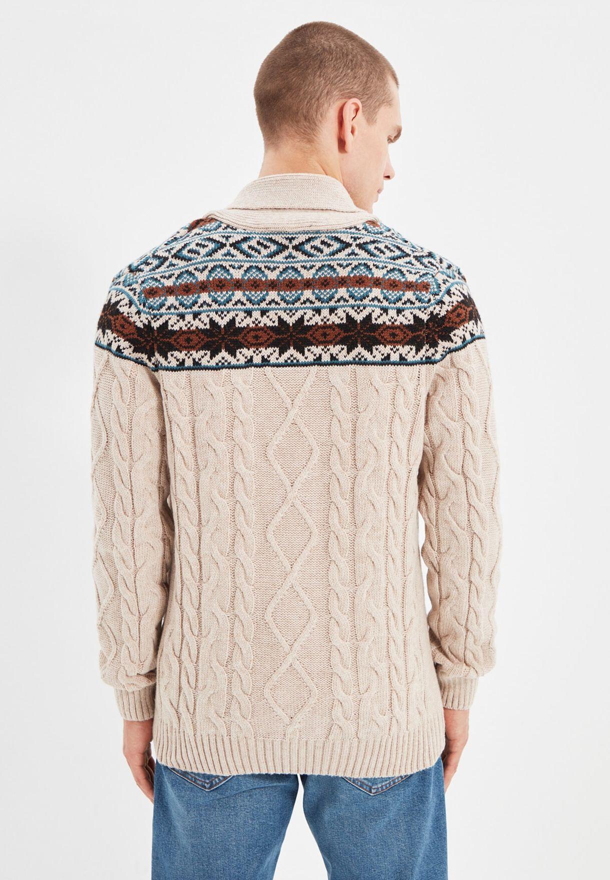 Jacquard Cable Knit Cardigan