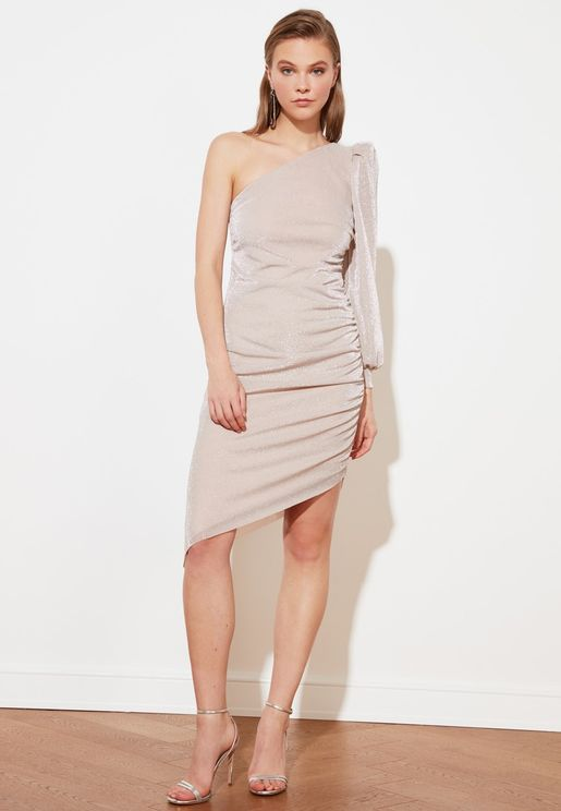 Asymmetric One Shoulder Dress