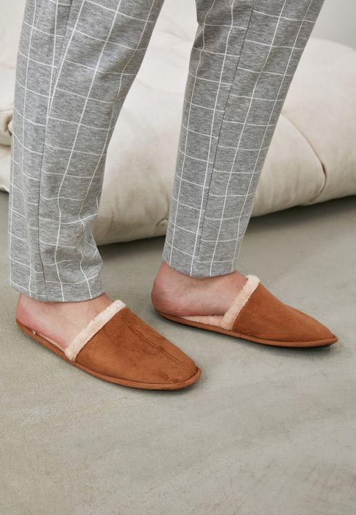 Fur Detail Mule Slippers