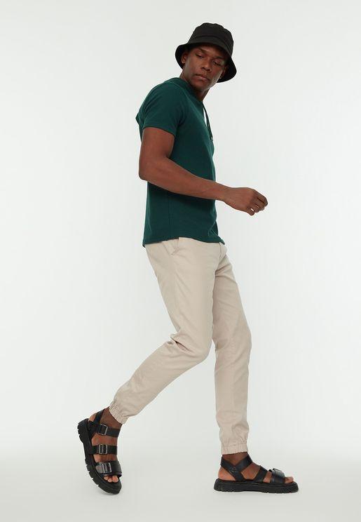 Tie Waist Cuffed Pants