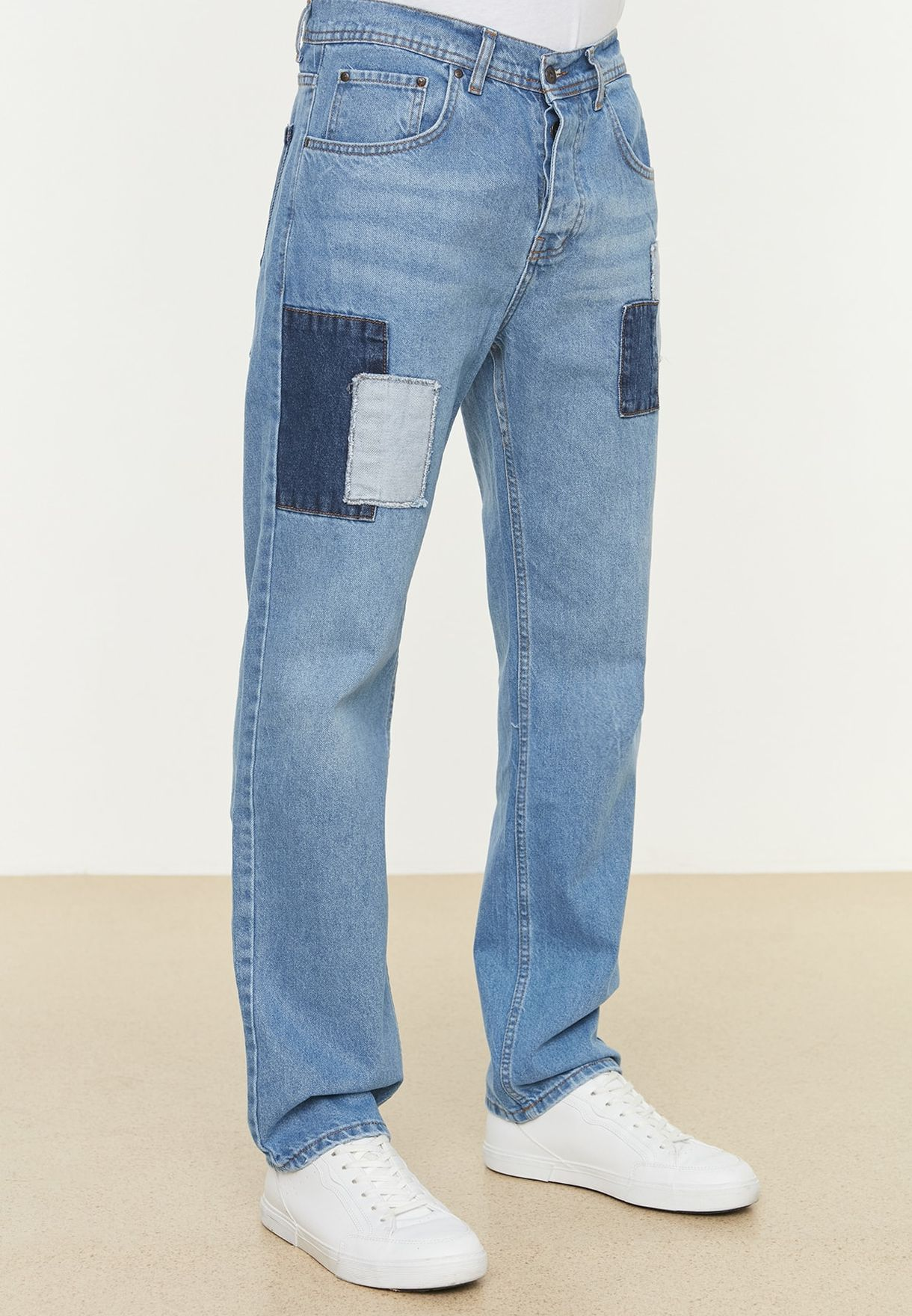 Mid Wash Straight Fit Jeans