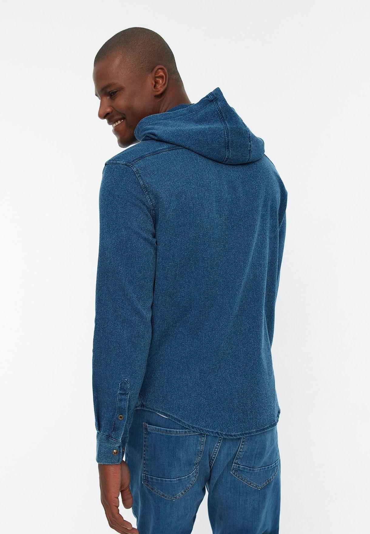Zip Detail Hooded Relaxed Shirt