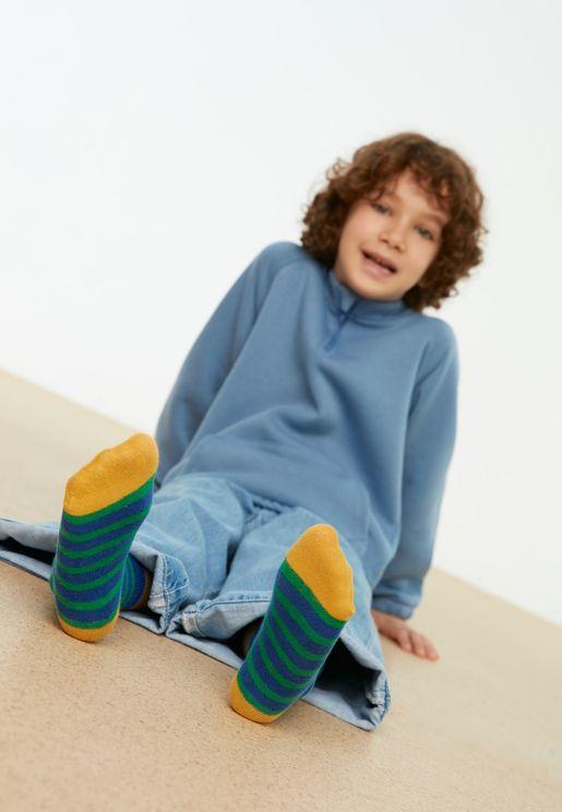 Kids 2 Pack Assorted Crew Socks