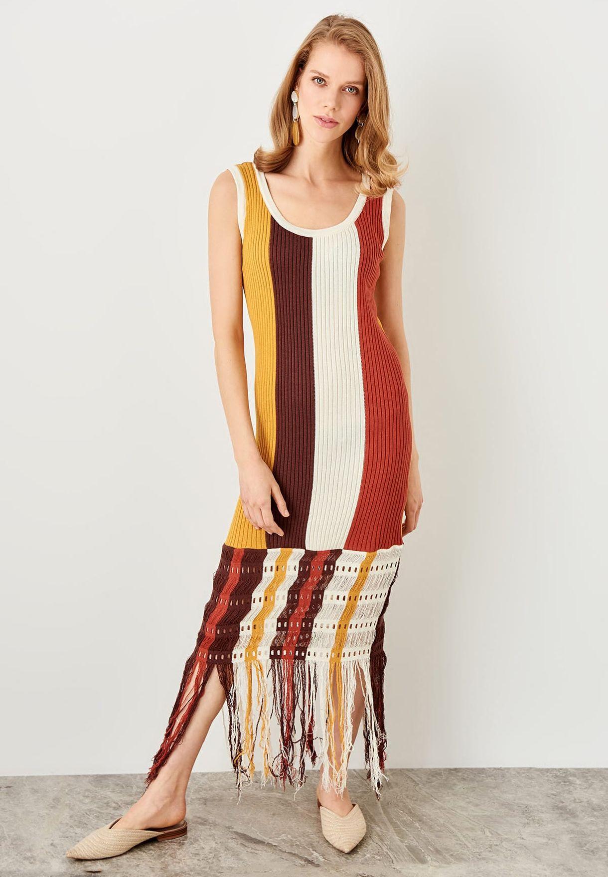 68f781a01c5 Shop Trendyol stripes Striped Tassel Sweat Dress TCLSS19FV0069 for ...