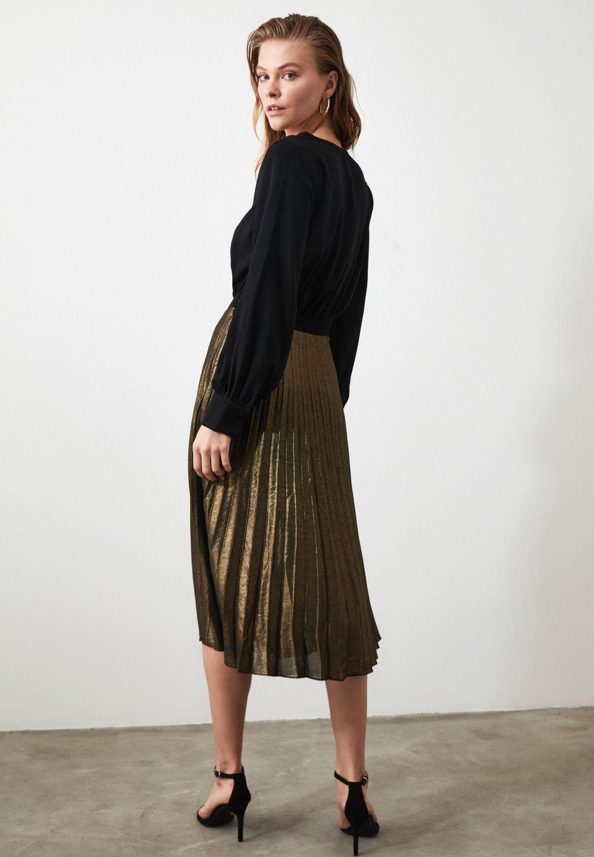 Colorblock Plisse Dress