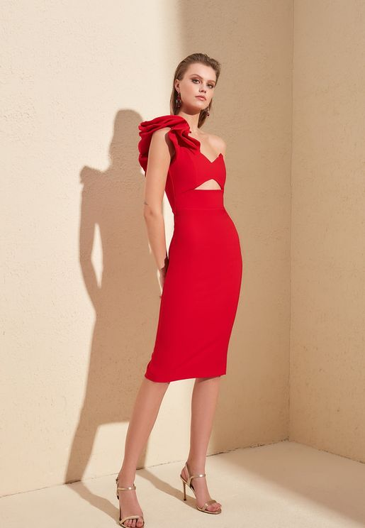 One Shoulder Cut Out Dress