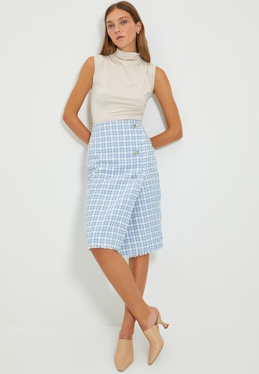 Button Detail Checked Skirt