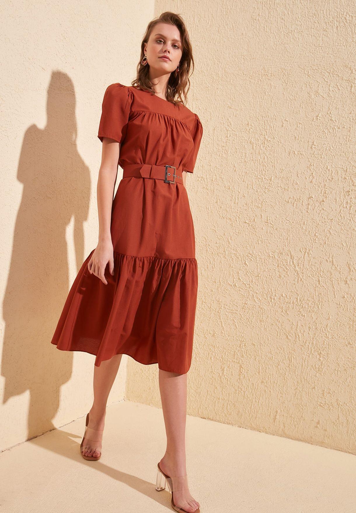 Tiered Hem Puff Sleeve Dress