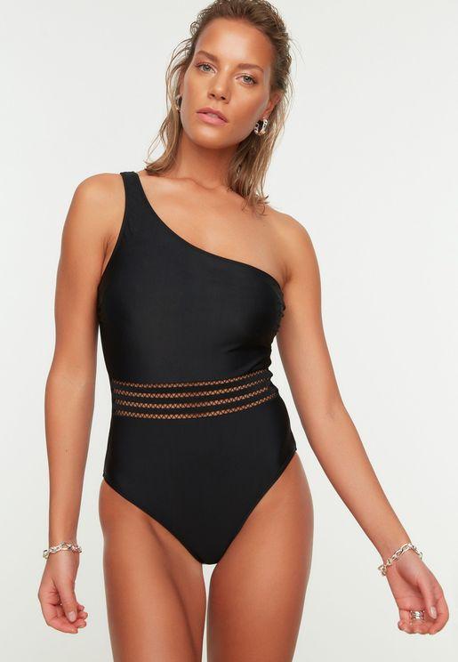 Mesh Detail One Shoulder Swimsuit