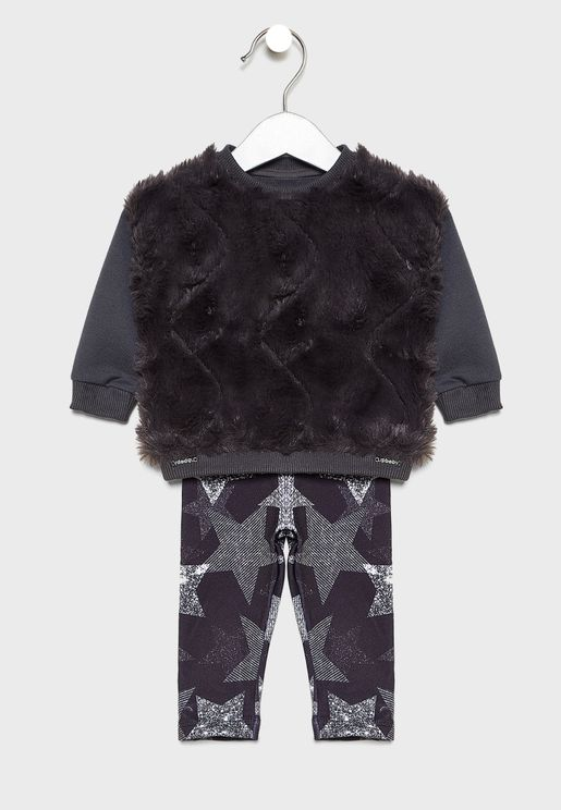Kids Fur Detail Sweatshirt + Sweatpants Set