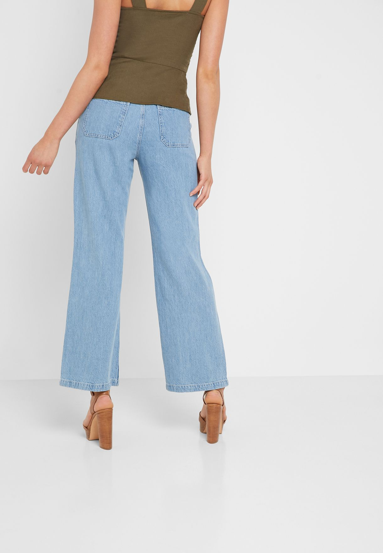 Pleated Detail Straight Jeans
