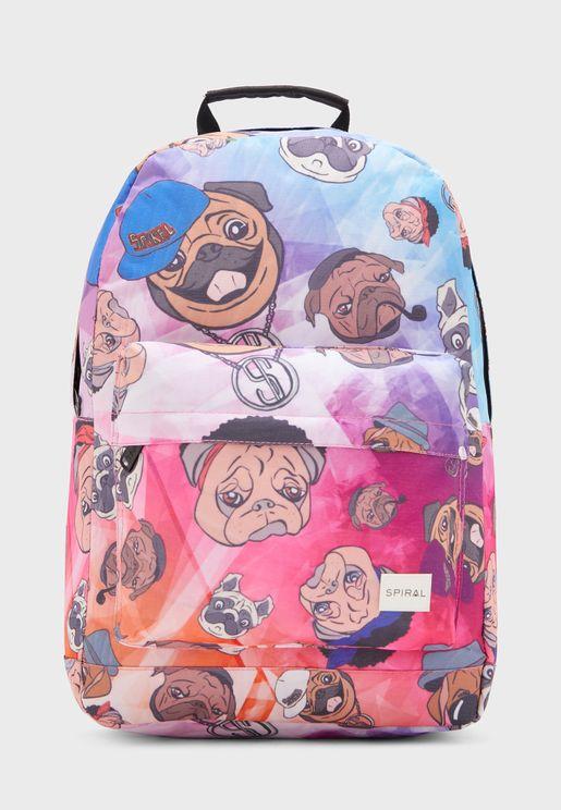 حقيبة ظهر بطبعات كلاب