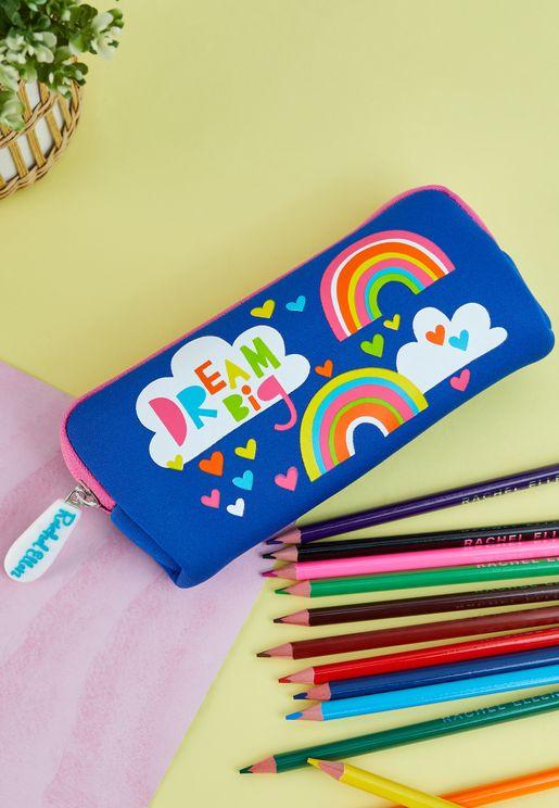 Dream Big Rainbows Neoprene Pencil Case