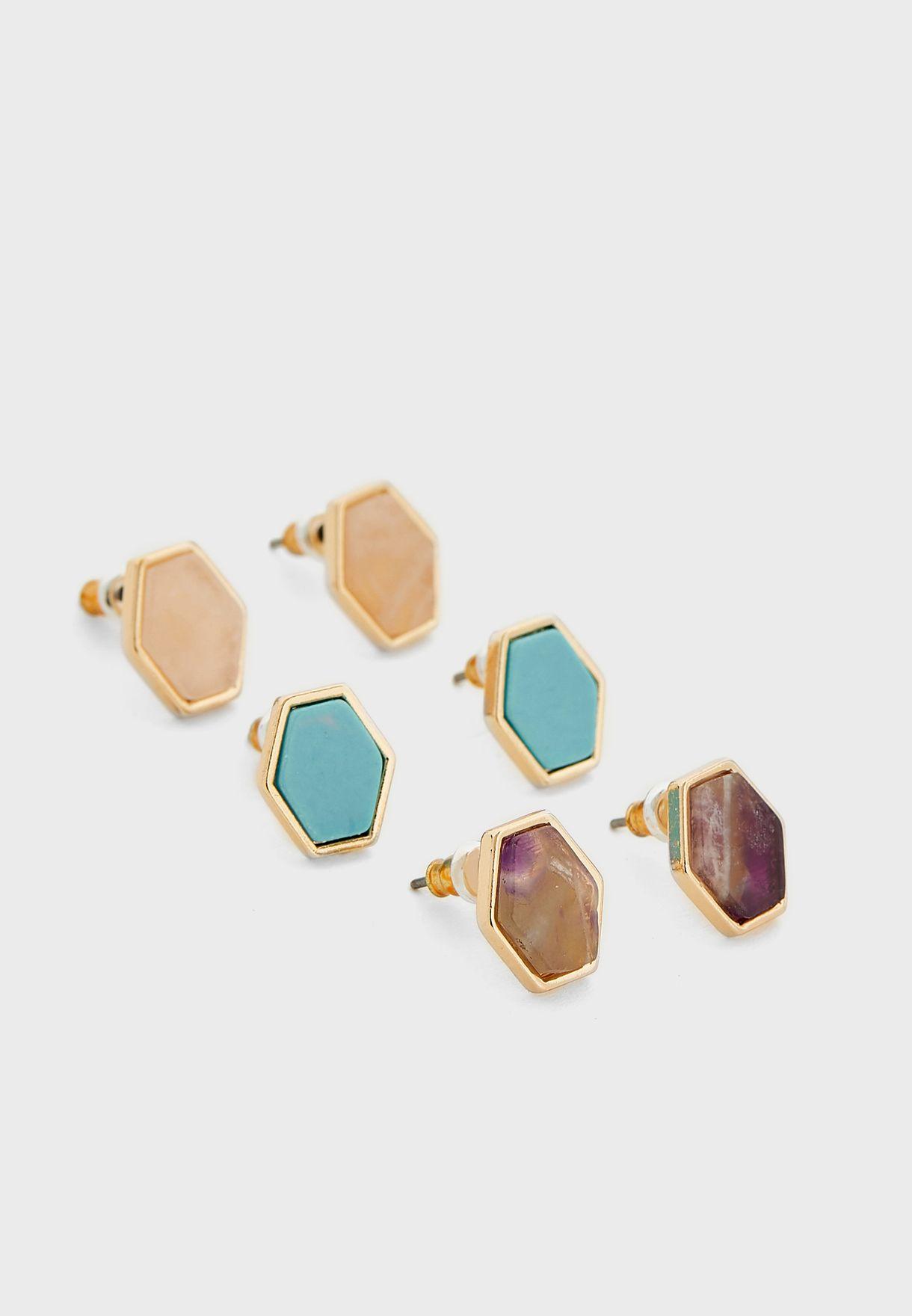 Pack Of 3 Precious Hexagon Stud Earrings