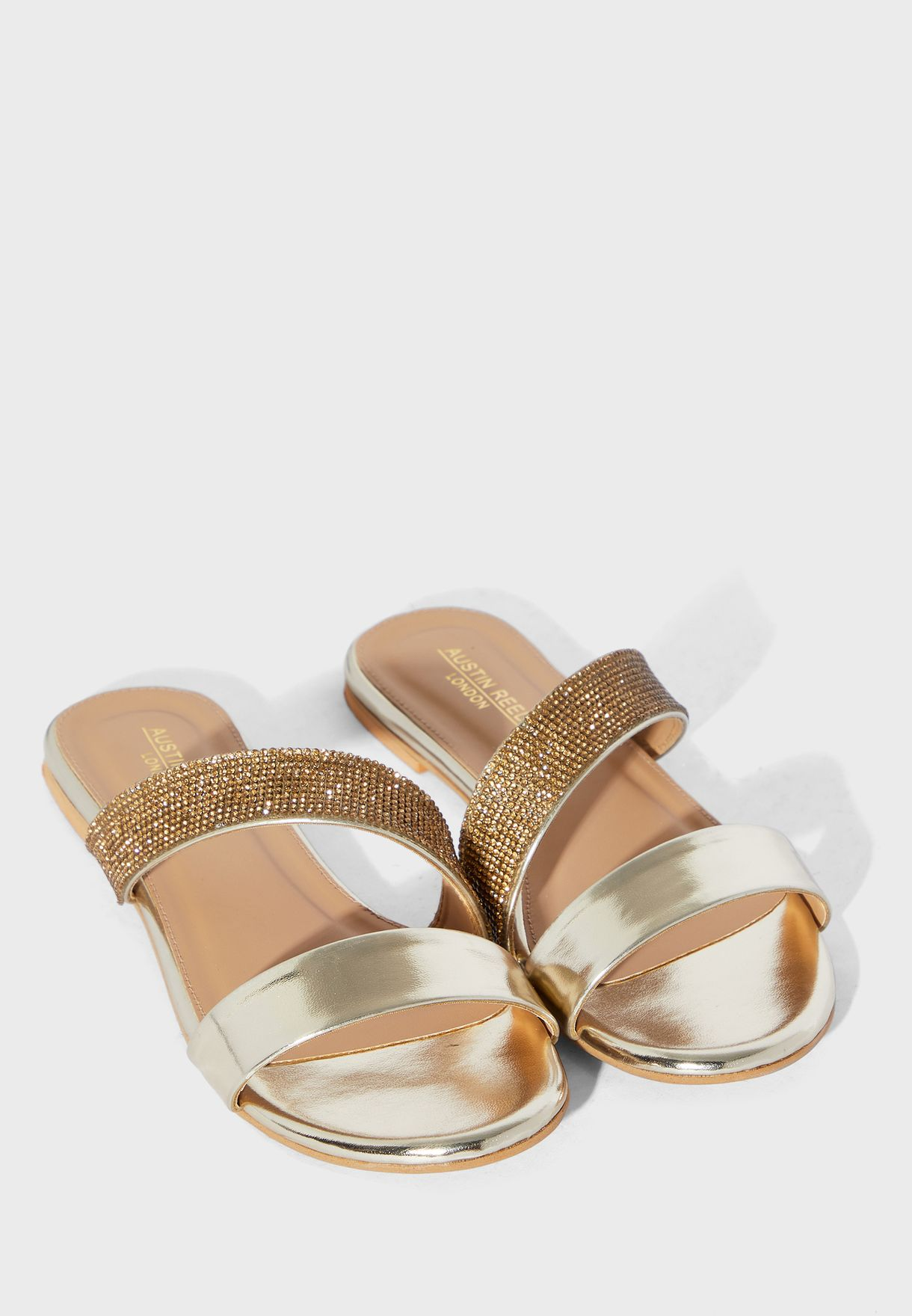 Buy Austin Reed Gold Double Strap Flat Sandal For Women In Manama Other Cities Aulfs13dff
