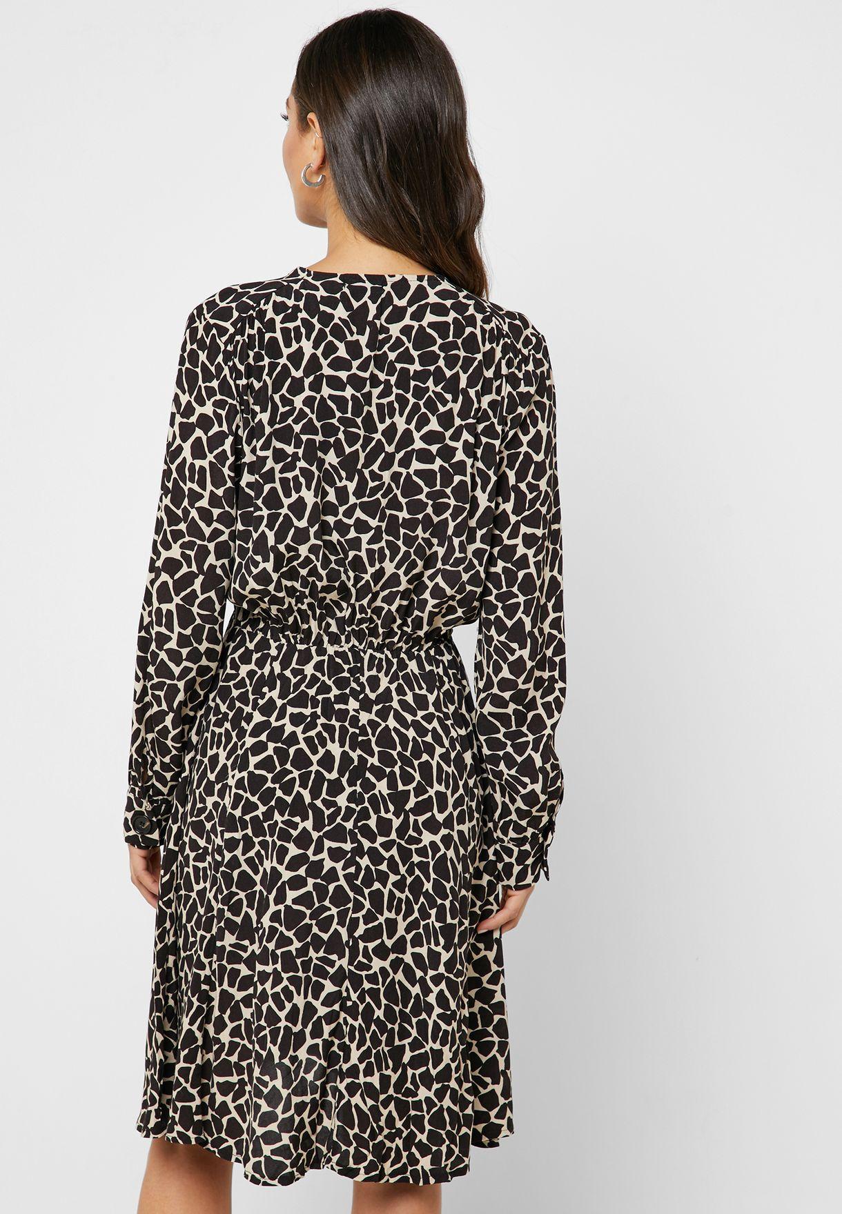 Giraffe Print Button Down Midi Dress