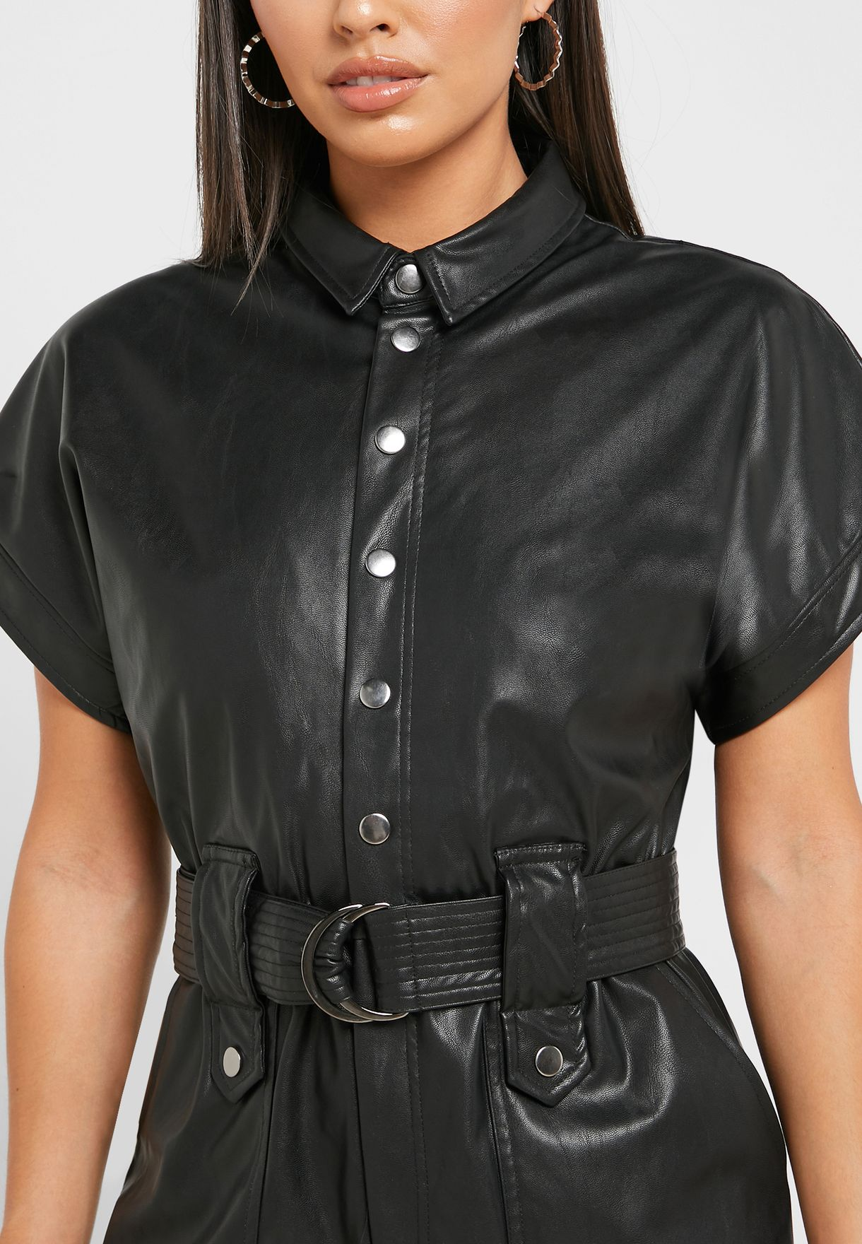Belted PU Jumpsuit