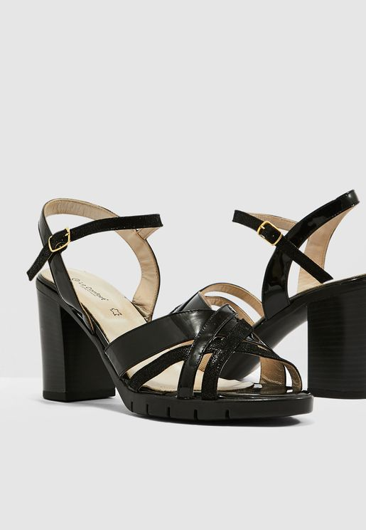 Block Heel Sandal - Black