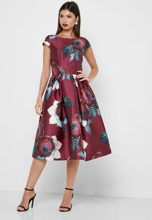 فستان ميدي بطباعة ازهار