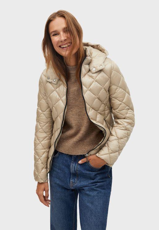 Zip Through Puffer Coat