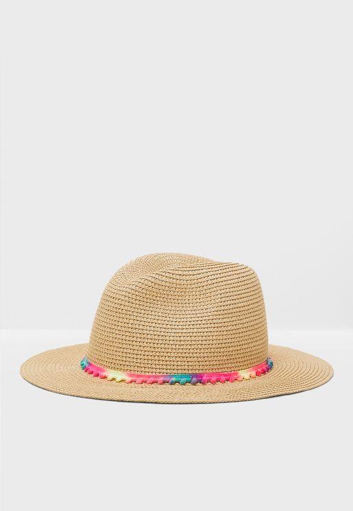 b6bff9996fb2e Mini Pom Woven Fedora Hat