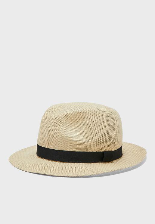 Straw Fedora Bucket Hat