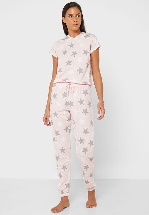 Crew Neck Printed T-Shirt & Pyjama Set
