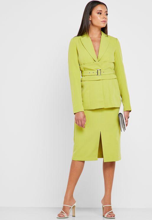 eea82a972 Front Split Button Detail Skirt