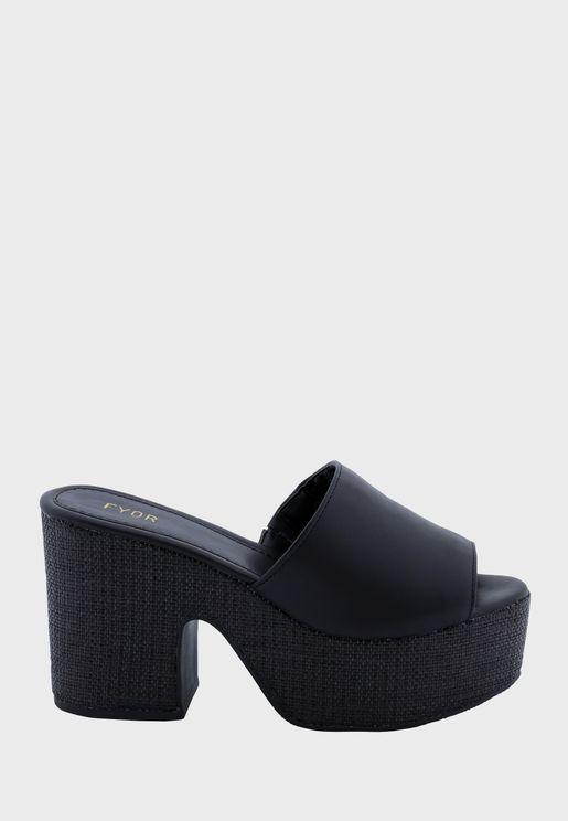 One Strap Mid Heel Sandals