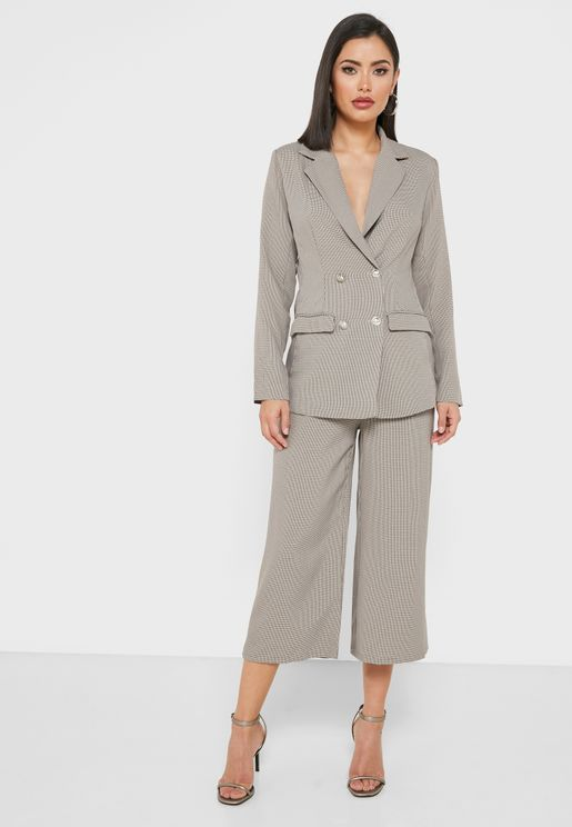 Checked Double Breasted Cropped Pants Set