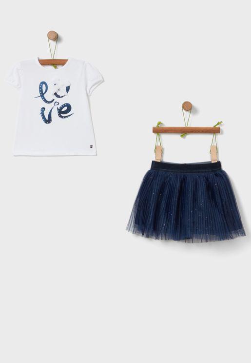 Kids Slogan T-Shirt + Skirt Set