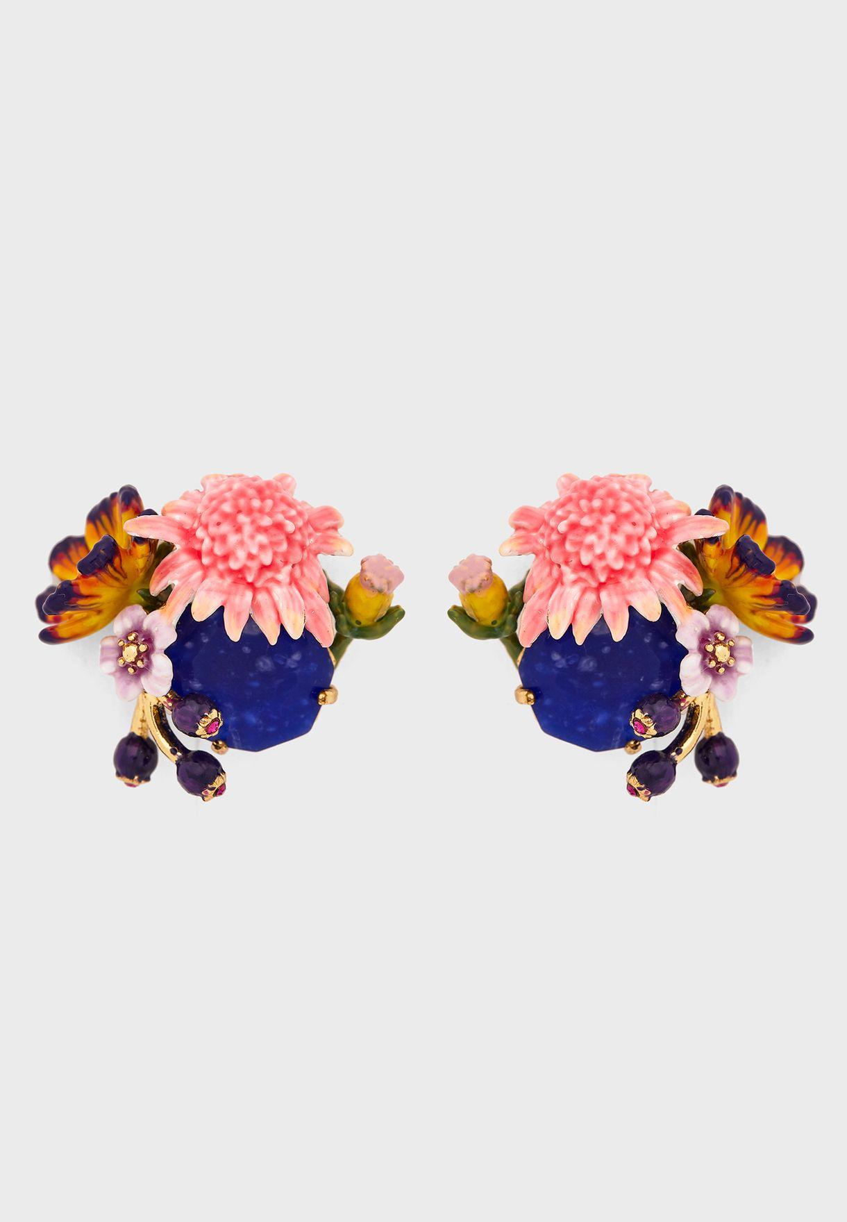 Flower And Butterfly Stud Earrings