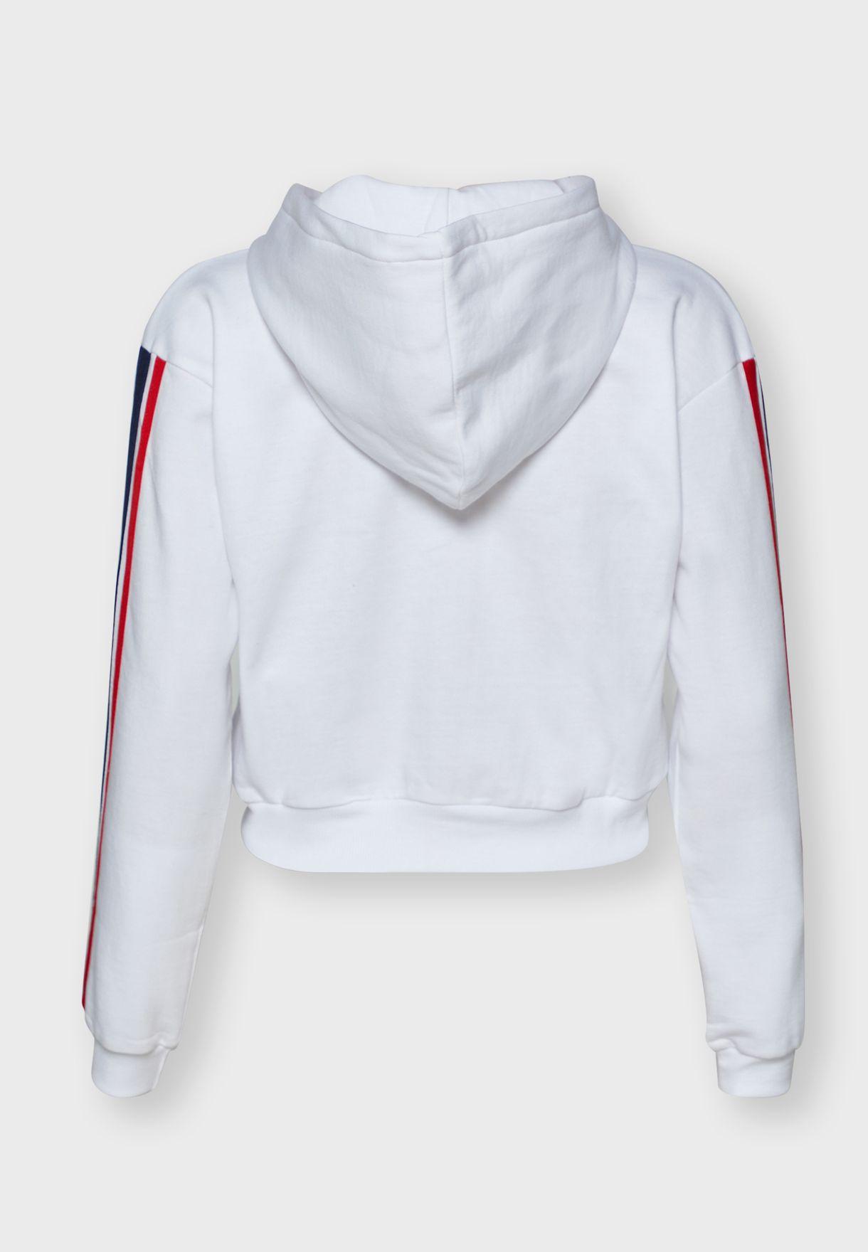 Striped Sleeve Zip Through Hoodie