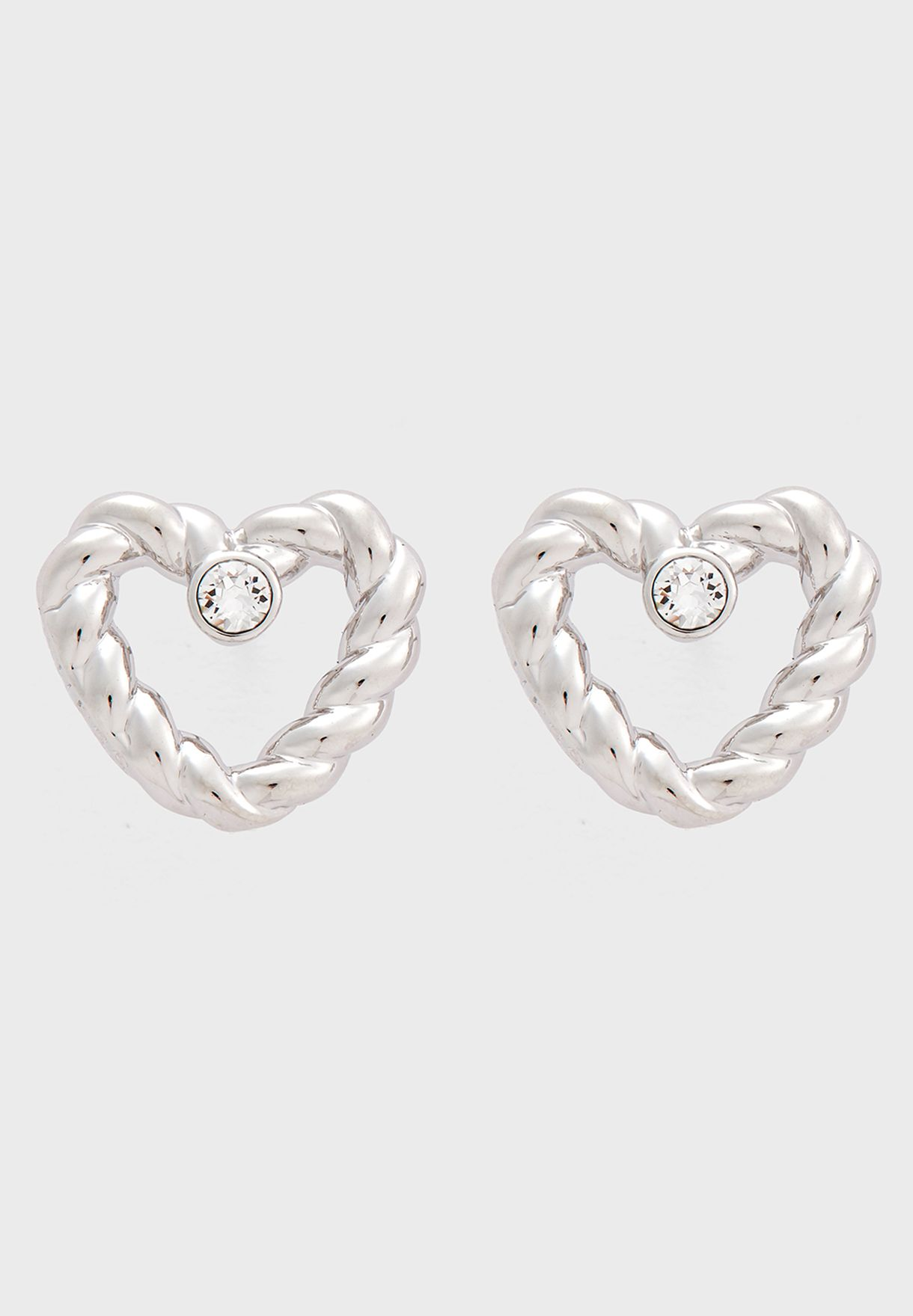 331b058eb Shop Guess silver E-Twisted Heart Studs UBE85042 for Women in UAE ...