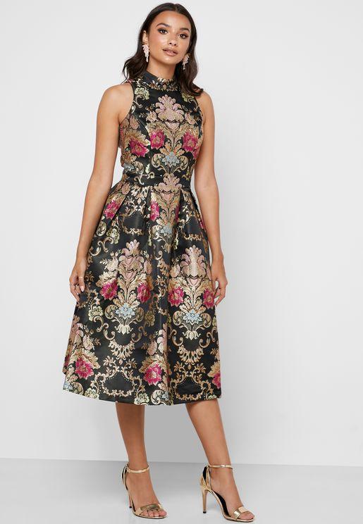 Halter Neck Floral Print Prom Dress